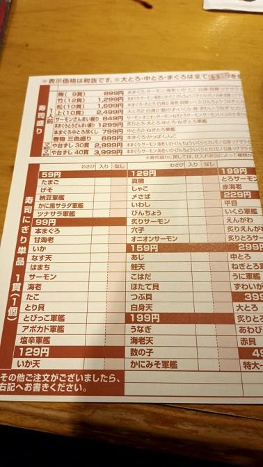 寿司の注文は専用の用紙に記入する