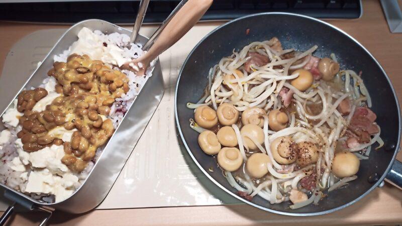 納豆豆腐丼ともやしと焼き鳥缶とマッシュルームの炒めもの