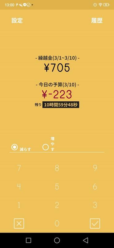 今日の予算-223、繰越金705円
