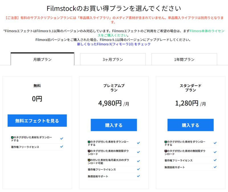 Filmstockのサブスクプラン