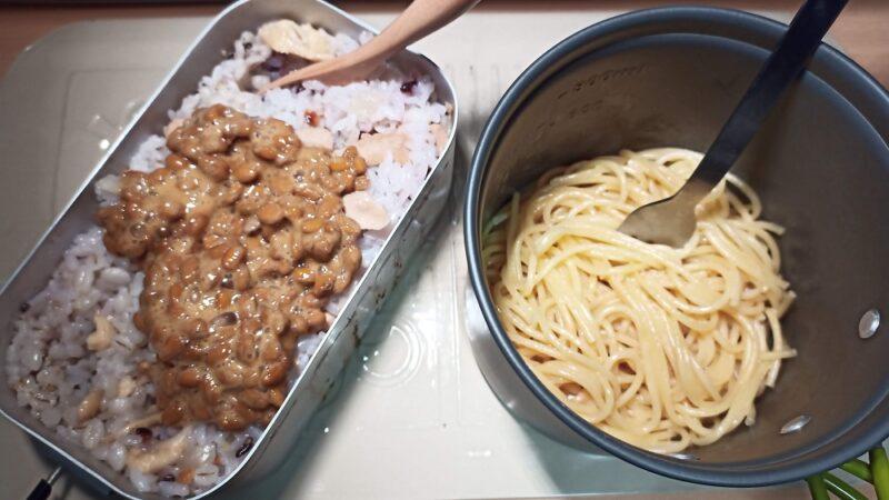 納豆+焼き鳥缶ご飯と、マヨネーズ醤油パスタ