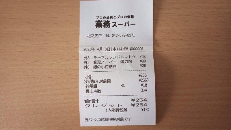 レシート。合計254円
