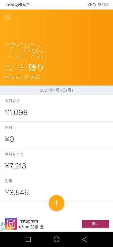 今月今まで7,213円。残り2,787円