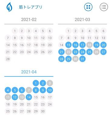 筋トレした日を記録したカレンダー(タスクアプリ使用)。4日に1回は休息日です